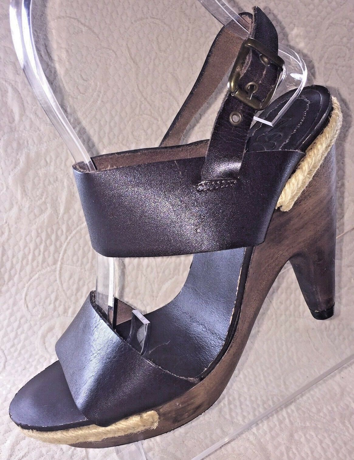 ZARA ZB Women 36 US 6 Brown Leather Wooden Ankle Strap Wedge Heel Sandal shoes
