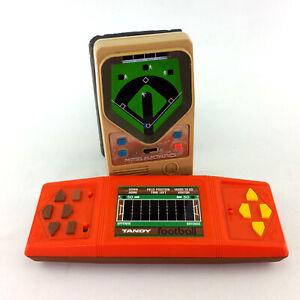 Lot-2-Vintage-Electronic-Handheld-Football-Baseball-Video-Games-Tandy-Mattel-70s