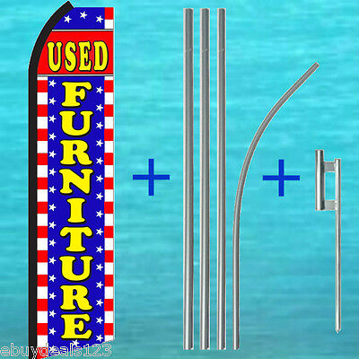 Coin Laundry Feather Flag Swooper Banner Pole Kit Outdoor Sign Display 15ft