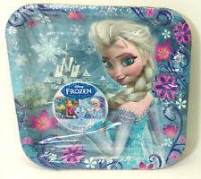 Disney Frozen Elsa Anna Paper plates 1 pkgs (8 pieces) NEW 7  square & Party Frozen Plates Disney Birthday Napkins Cups 8 Elsa Anna ...