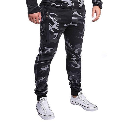 Mens Camo Casual Elastic Waist Cargo Combat Trousers Bottoms Pocket Cuffed Pants