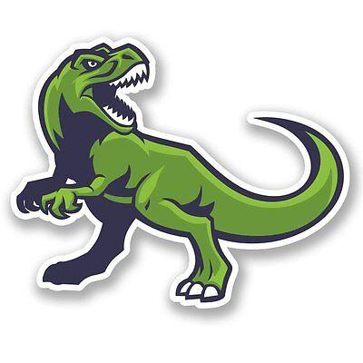2 x 10cm Happy Pink T-Rex Dinosaur Vinyl Sticker Laptop Helmet Skate Cool #6687