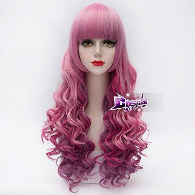 Women's Fashion 26'' Pink mixed Magenta Long Lolita Curly Cosplay Wig