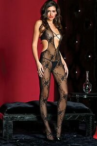 Sexy-Black-V-Front-Halter-Lace-Bodystocking-Open-Crotch-One-Size-Music-1413