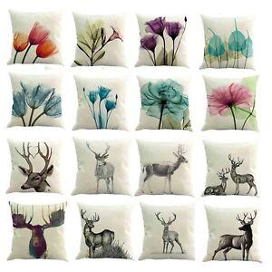 Watercolor-Flower-Linen-Cushion-Cover-Sofa-Throw-Pillow-Case-Home-Car-Decor-45cm