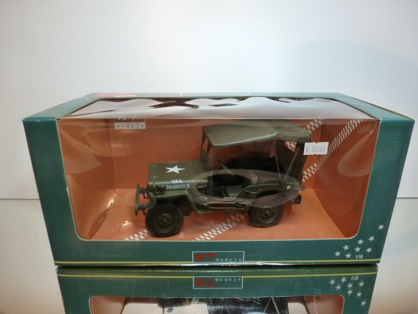 UT MODEL 149002 WILLY'S JEEP + CANVAS TOP - US ARMY verde  1 18 EXCELLENT IN BOX