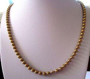 Ravissement Beau Grand Collier Couleur Or Bijou Vintage Perles Dorées Gravées Relief 3435