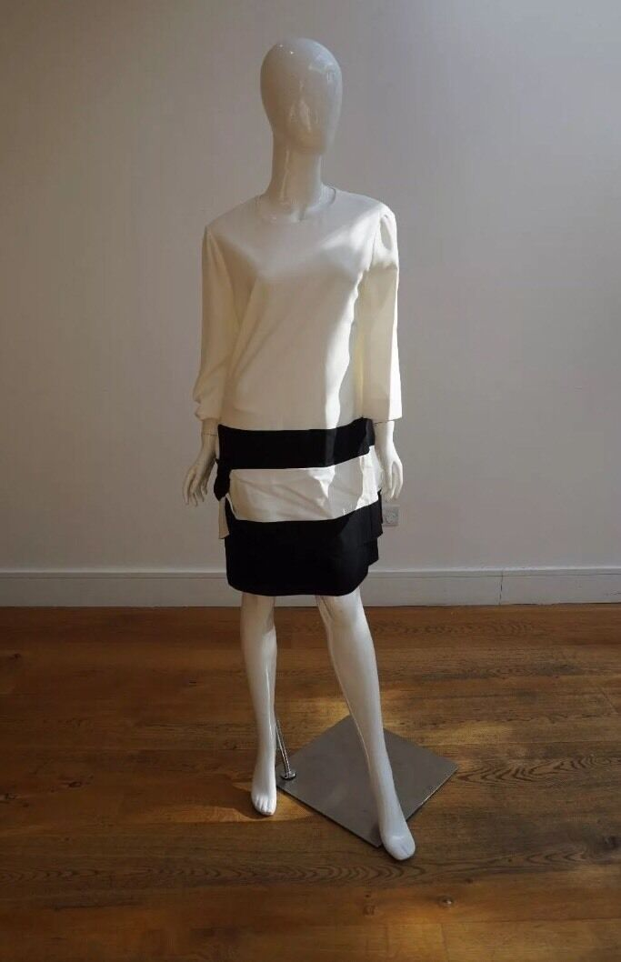 Chloe Negro Y Crudo Vestido Talla 42 UK12 14   la red entera más baja