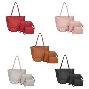 4pcs-Women-Lady-Leather-Handbag-Shoulder-Bags-Tote-Purse-Messenger-Satchel-Set