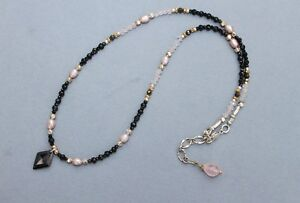 54ef7e0e0d544 Details about Black Spinel Onyx Pearl Rose Quartz Silver Gold Delicate  Handcrafted Necklace