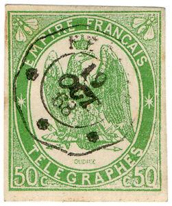 I-B-CK-France-Telegraphs-50c-Yellow-Green-1868