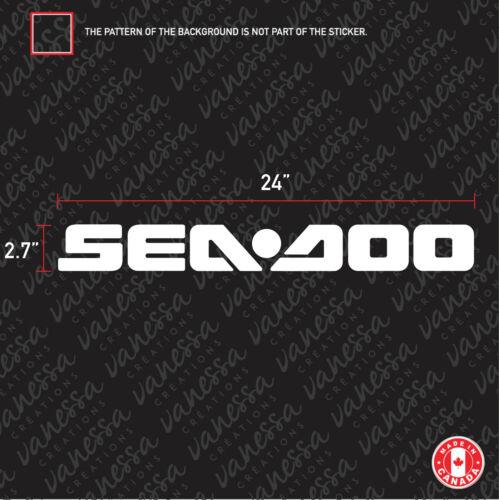 2x SEADOO 24 INCHES sticker vinyl decal white