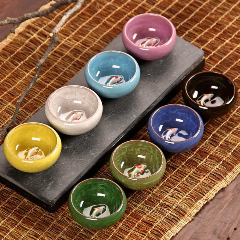 8 Couleurs Kungfu Tasse à thé glace fissuration Porcelaine Tasse à Thé Avec Poisson Motif Céramique