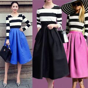 High Waisted Swing Skirt