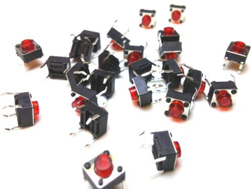 5 mm ROSSO PULSANTE MOMENTANEO TATTILE SWITCH-SPST 6 mm 25pcs 6 mm
