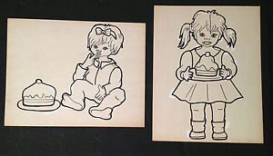(2) Original Vintage Children's Birthday Drawings By: Dorothy Carothers Rare!