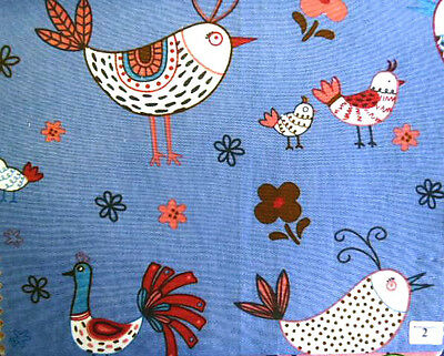FRENCH HENS ON BLUE - 100% COTTON FABRIC F.Q.'S