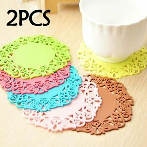 Image Is Loading 2pcs Lot Lace Flower Hollow Doilies Silicone Coaster
