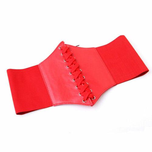 Fashion Women Artificial Leather Wide Waist Waistband Belt Corset Elastic Waspie