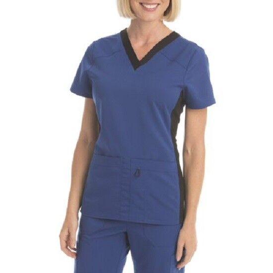 8ed801bbd70 Scrubstar Women's Premium Collection Flex-fit V-neck Scrub Top Blue Size S  for sale online | eBay