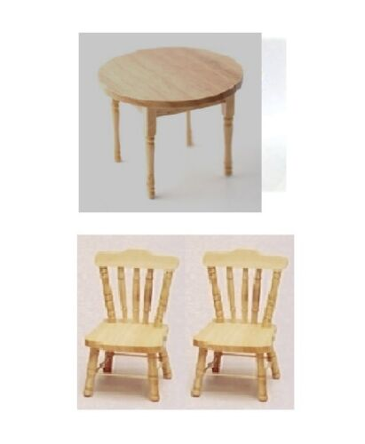 Dolls House Furniture Light Wood Round Table /& Two Chairs    12th scale