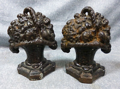 """Metalware Antique """"small Basket Of Flowers"""" Cast Iron Book Ends"""