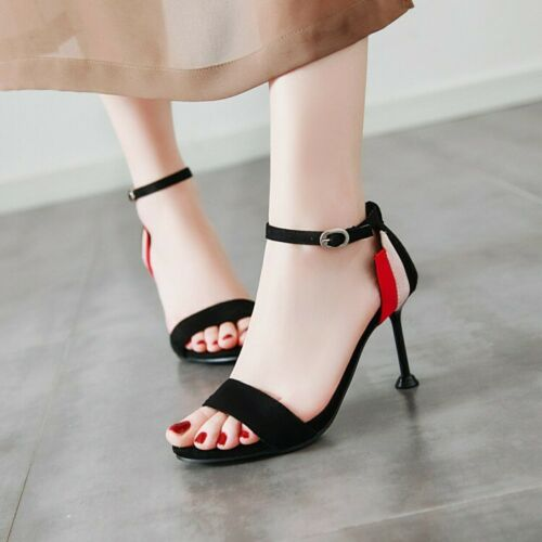 alti Uk Scarpe spillo con Fashion Peep sul a tacchi Toe cinturino estive Ladies tallone Sandali Suede qqCYSn