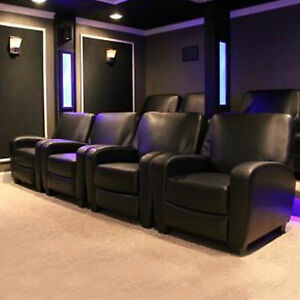 Home Theater Recliner Black Faux Leather Lounge Club Chair Movie Theatre Seat