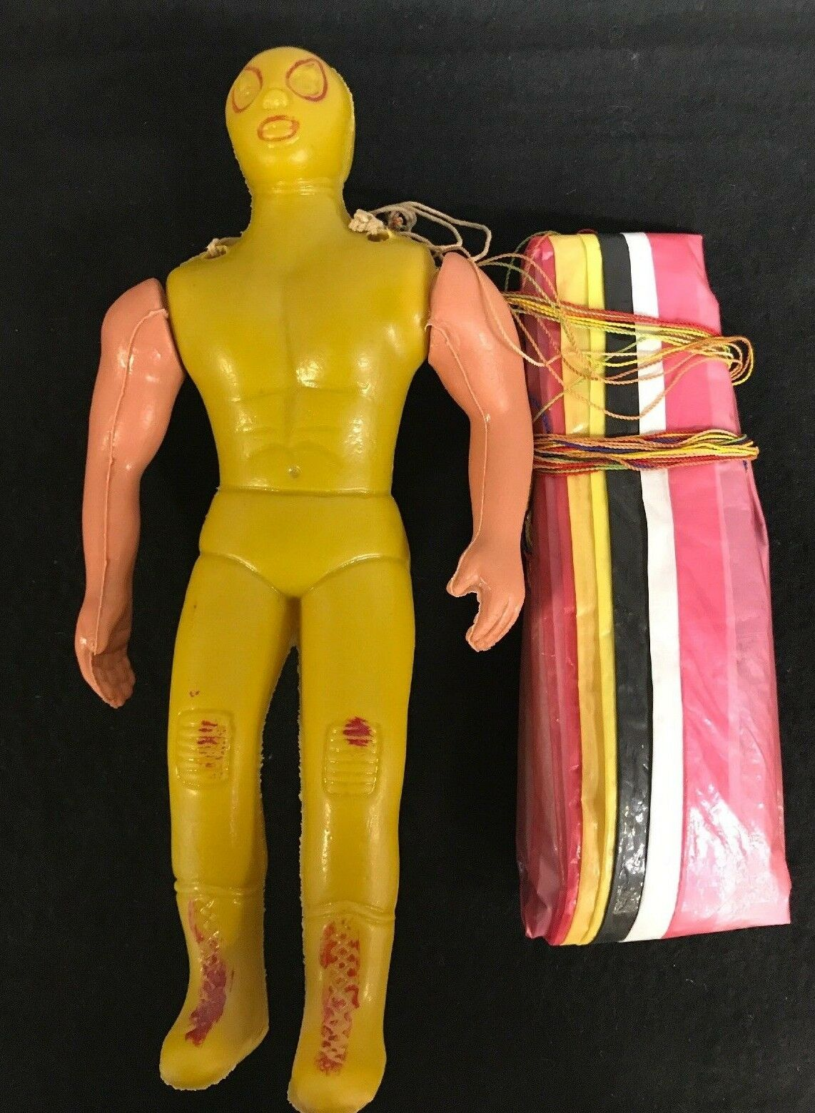 Blow Mold Parachute Luchador Vintage Toy wrestler with parachute toy
