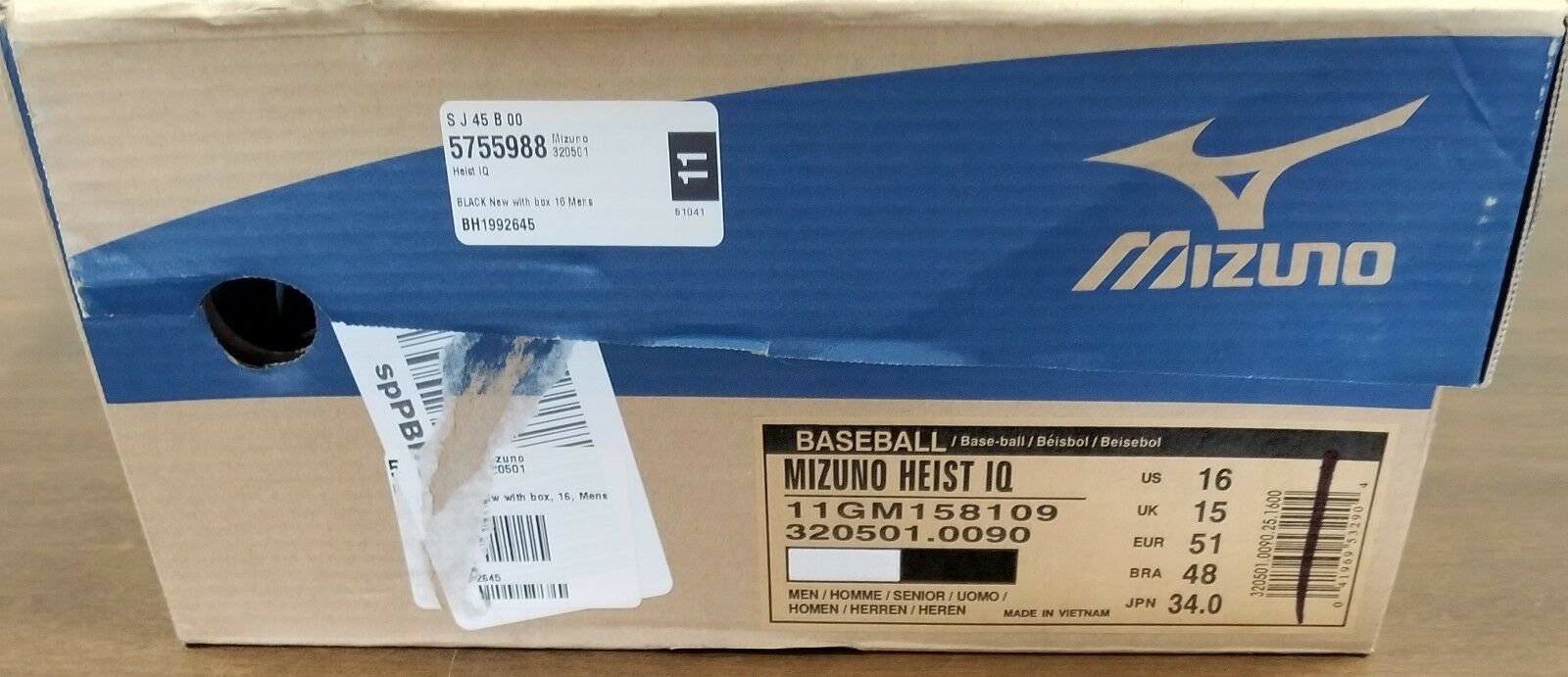 MIZUNO HEIST IQ MID 320501 BASEBALL METAL CLEATS SIZE 16 WITH - Weiß - NEW WITH 16 BOX 4af1e2