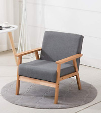 Mid Century Armchair Vintage Danish Furniture Wood Frame Chair Grey Fabric Seat