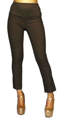 Brown Solid Maternity Pants Belly Band Elastic Pregnancy Bottoms Work Attire