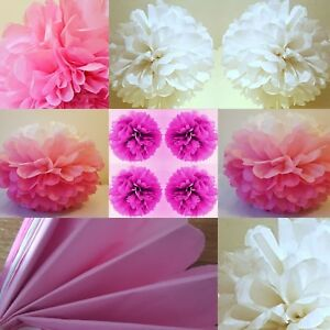 Image Is Loading 5 X Pink White Tissue Paper Pompoms Hanging