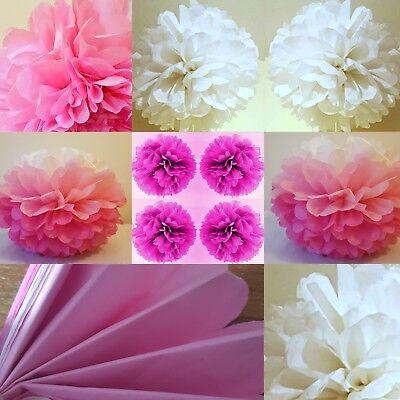 Razionale 5 X Bianco Rosa Carta Velina Pompon Da Appendere Festa Matrimonio Compleanno Decorazioni-
