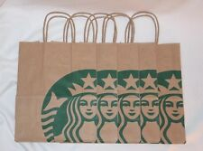 (5x) Starbucks Reusable Brown Kraft Paper Shopping Lunch Gift Bags With Handles