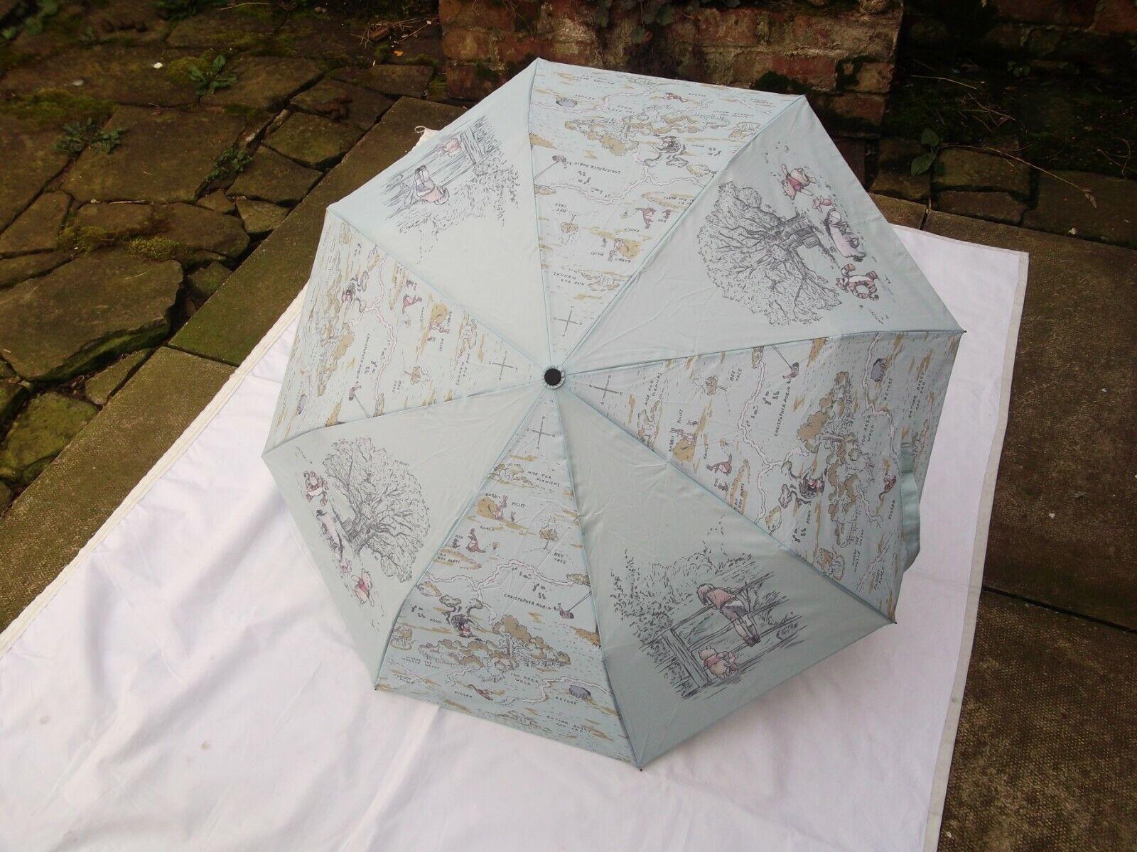 DISNEY STORE Winnie The Pooh Umbrella Christopher Robin Sketch Map 100 Acre NEW