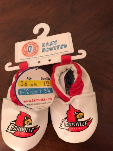 Skidders Louisville Cardinals Size 6-12 Month Baby Booties Shoes Boy//Girl