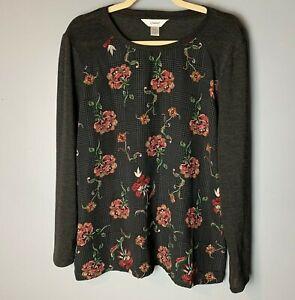 CJ-Banks-NEW-Women-039-s-Top-Size-X-14W-Floral-Long-Sleeves-Gray-Maroon-Green-Orange