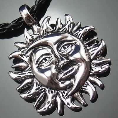 "Sun & Moon Face Yin-Yang Pewter Pendant with 20"" Choker Necklace PP#230"