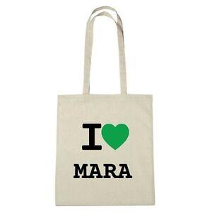 Umwelttasche - I love MARA - Jutebeutel Ökotasche - Farbe: natur