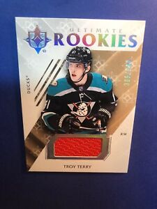 2018-19-UD-Ultimate-Collection-Hockey-Rookies-Jersey-Patch-87-Troy-Terry-399RC