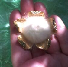 Vintage blonde mink and cobalt blue crystal flower brooch a/f