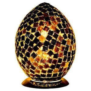 Large Mosaic Crackle Crystal Glass Blacktile Egg Table