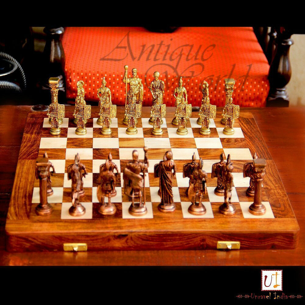 Brass & Wood Unique Hand Made Wooden Art Chess Board 14 X14  Folding Style CB 05