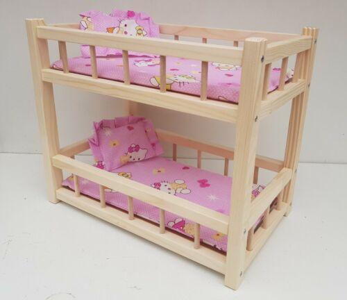 """Giocattolo in legno letto a castello per bambole 2 14 /""""LONG scuola materna bimba giocattolo Materasso /& Cuscini"""