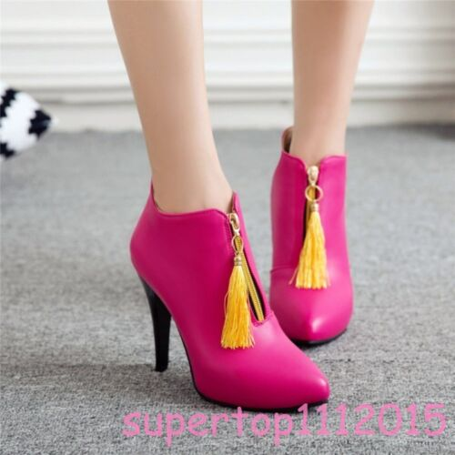 Details about  /Fashion Women/'s Stilettos Pointy Toe Pull On Zipper Tassel Ankle Boots Lady New