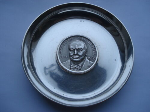 HIGH QUALITY WINSTON CHURCHILL 18741965 HEAVY SILVER SOUVENIR PIN DISH