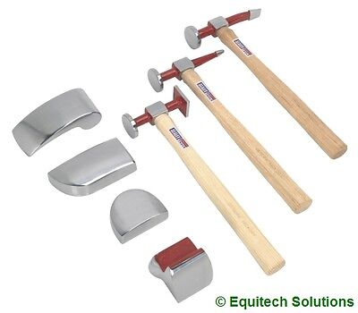 Sealey Tools CB57 Panel Body Beating Set Drop Forged Dolly Hickory Shaft Hammer