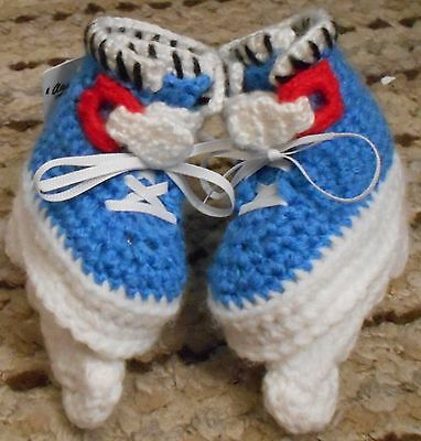Custom Design Handmade Crochet White//Pink Aggressive Style Skates Baby Booties