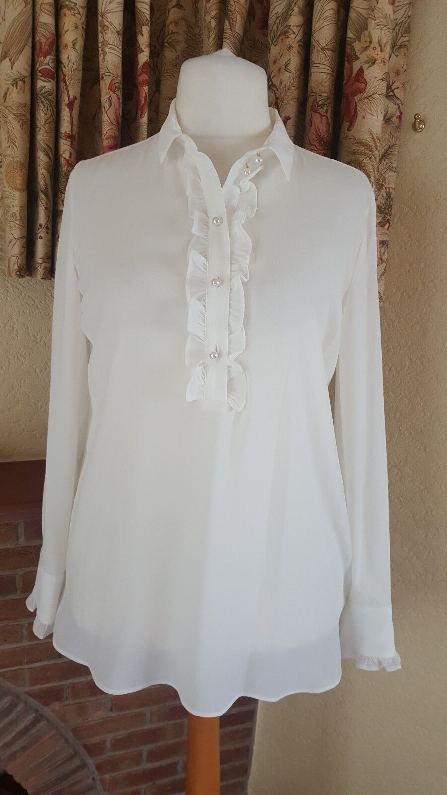 LADIES CREAM CREPE PEARL FRILL TUNIC TOP FROM NEXT SIZE 20 SUMMER HOLIDAY